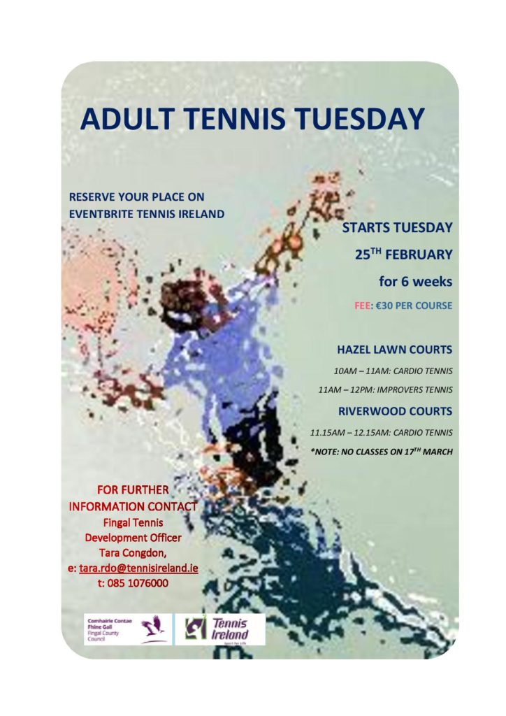 Flyer for Cardio Tennis beginning February 2020
