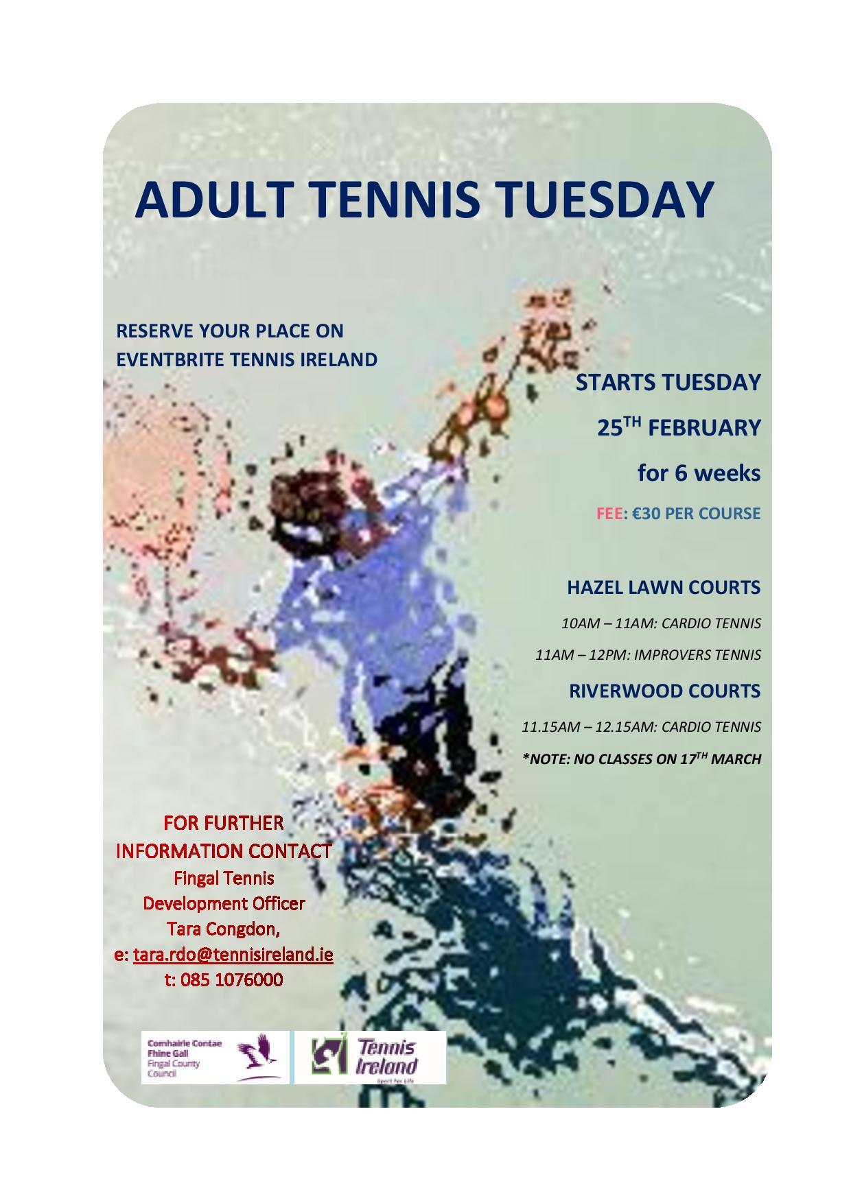 Flyer for Cardio Tennis beginning February 2020